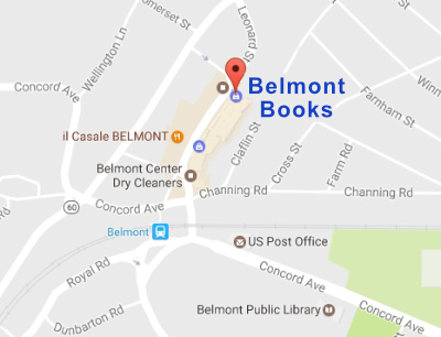 Close up of Belmont Books location - 79 Leonard St., Belmont, MA